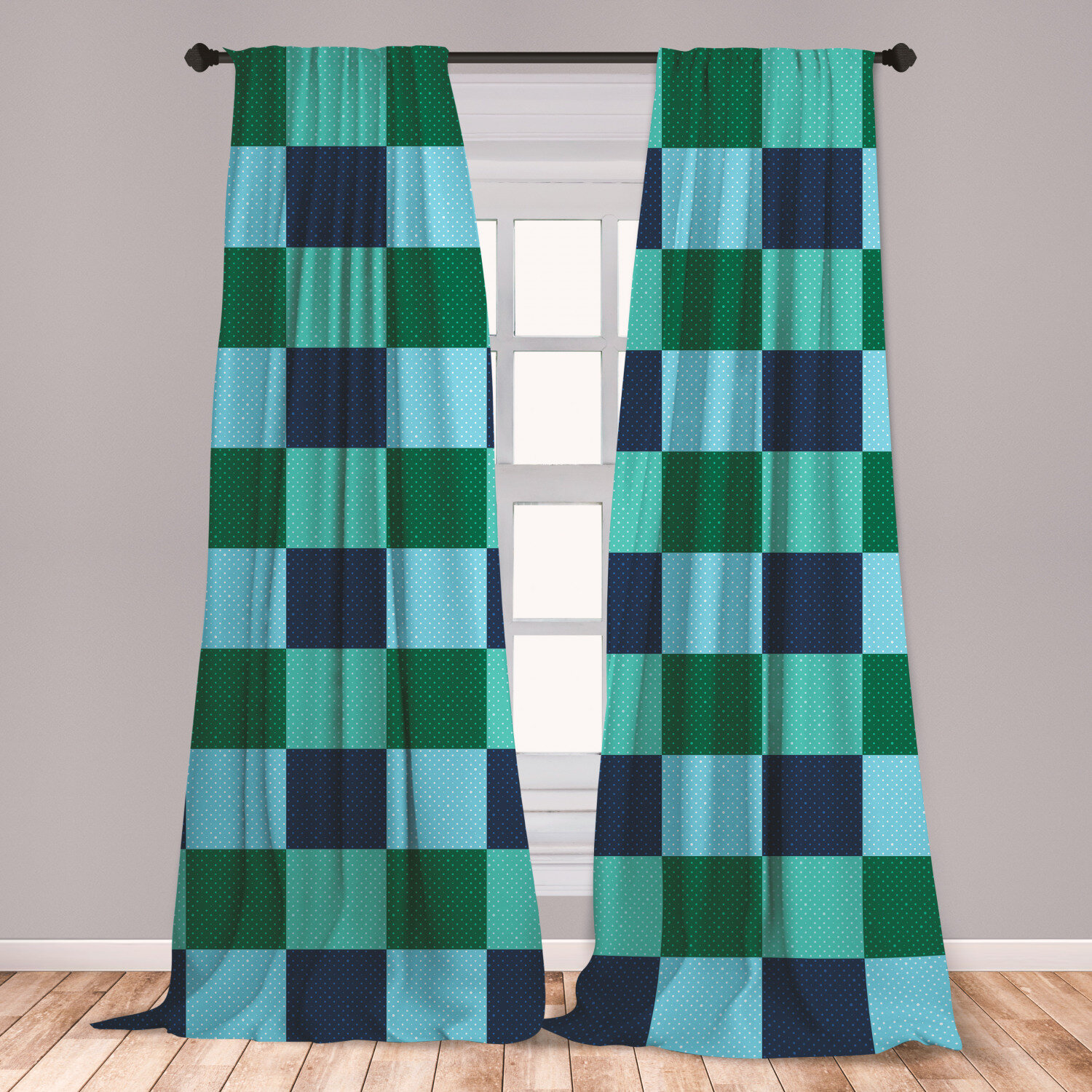 East Urban Home Ambesonne Navy And Teal Curtains Aquatic Colored Squares With Old Fashioned Polka Dots Retro Style Maritime Window Treatments 2 Panel Set For Living Room Bedroom Decor 56 X 95 Multicolor Wayfair