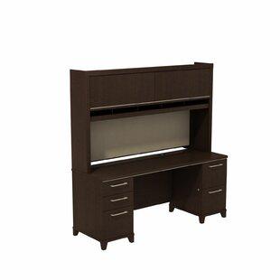 Bush Business Furniture Enterprise Double Pedestal Executive Desk with Hutch