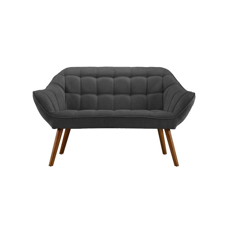 Turn on the Brights  Herrald Modern Tufted Loveseat Upholstery: Dark Gray