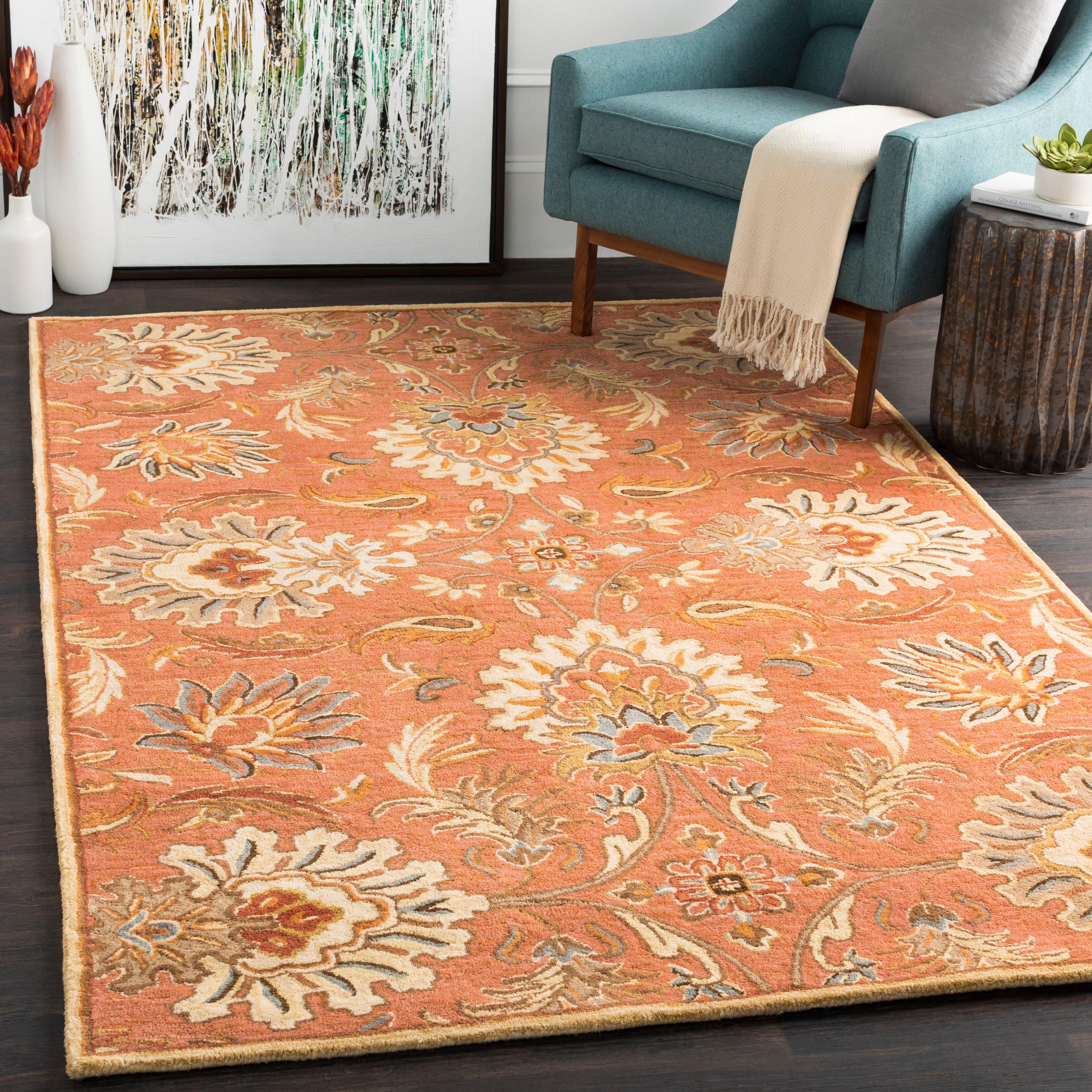 Birch Lane Aaron Floral Handmade Tufted Wool Burnt Orange Area Rug Reviews Wayfair Ca