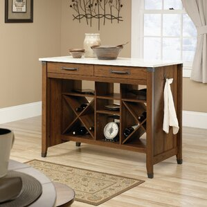 Newdale Kitchen Island with Faux Marbl..