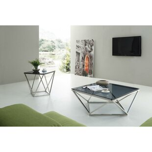 Brayden Studio Greentop Glass Top 2 Piece Coffee Table Set