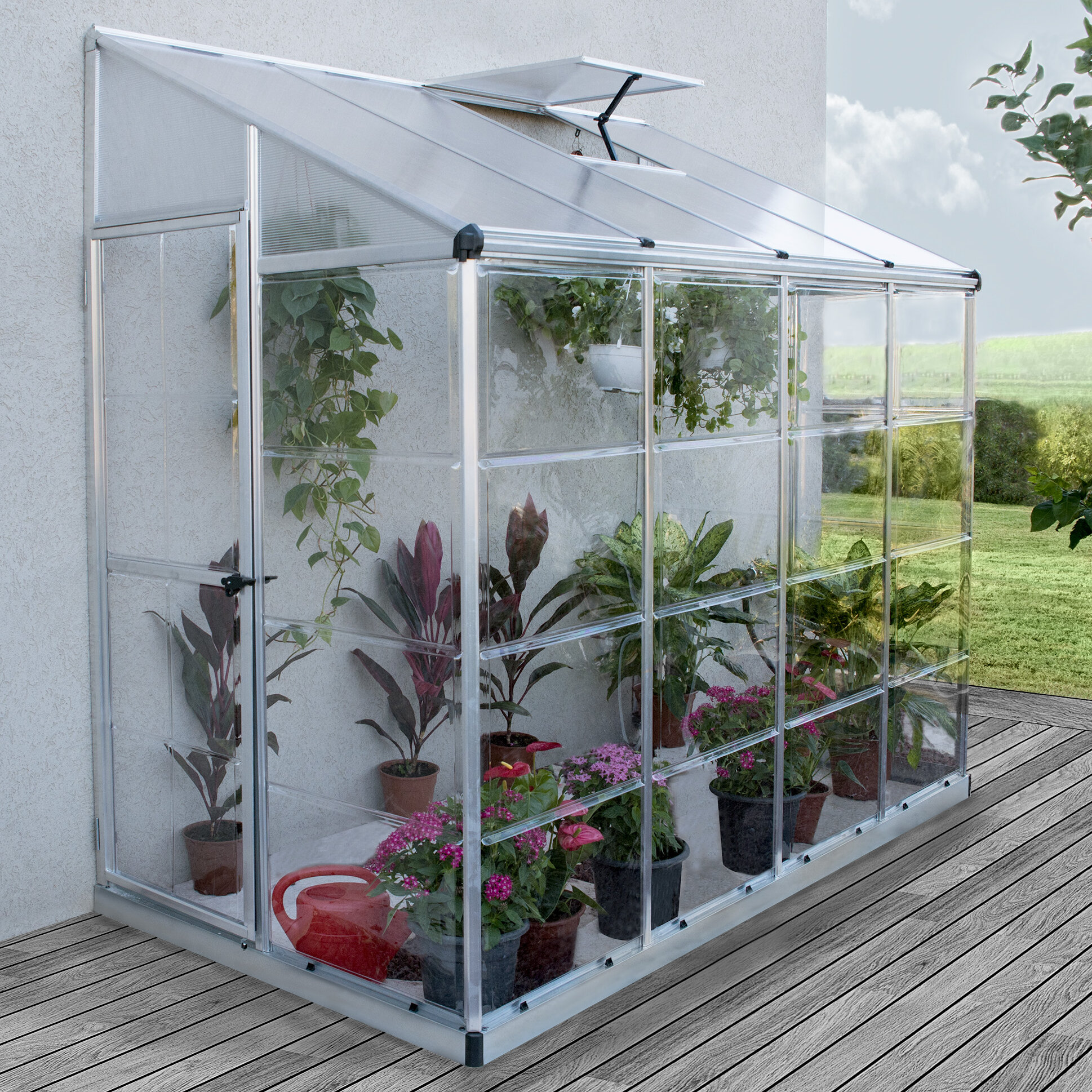 Palram Nature 4 Ft. W x 8 Ft. D Lean-To Greenhouse   Wayfair