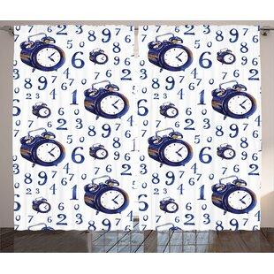 Bonnett Clock Graphic Print And Text Semi-Sheer Rod Pocket Curtain Panels (Set Of 2) by Latitude Run