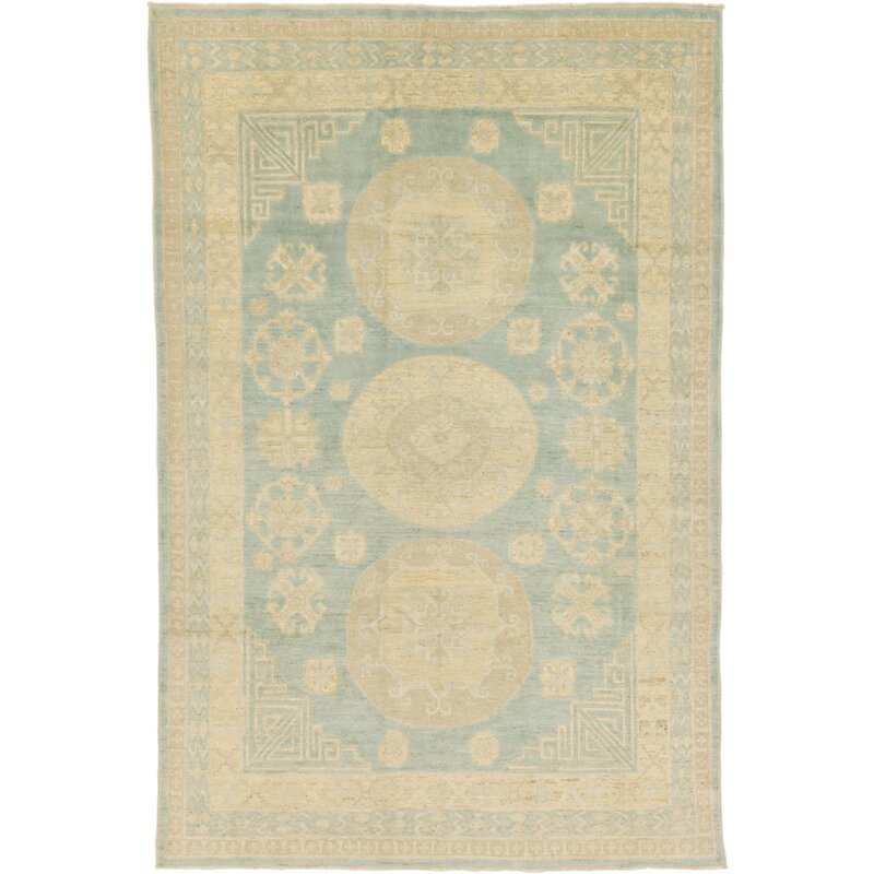 "One-of-a-Kind Wareham Hand-Knotted 6'4"" x 9'7"" Wool Beige/Light Blue Area Rug"