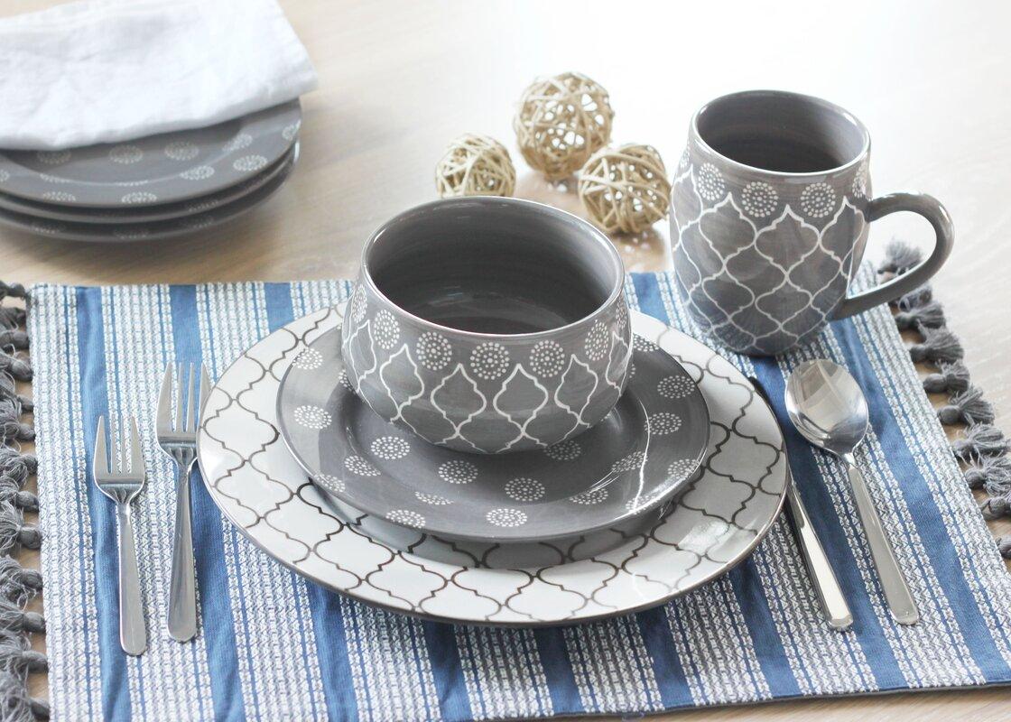 Moroccan 16 Piece Dinnerware Set Service for 4 & Moroccan 16 Piece Dinnerware Set Service for 4 \u0026 Reviews | Joss \u0026 Main