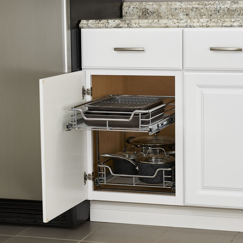 Kitchen Sink Pull Out Drawer rebrilliant dual slide 2 tier under sink pull out drawer & reviews