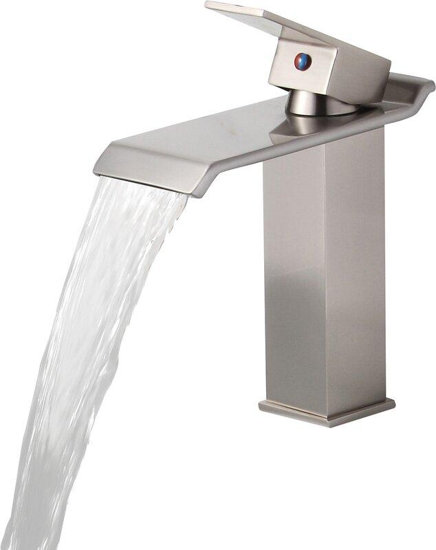 Bathroom Waterfall Faucet elite single handle bathroom waterfall faucet & reviews | wayfair