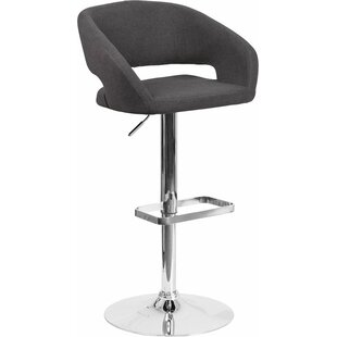 Whelan Rounded Mid Back Adjustable Height Swivel Bar Stool Orren Ellis