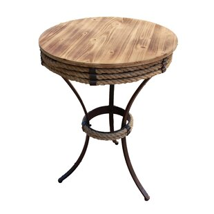 Bruning Wood and Metal Wrapped End Table with Sisal Rope