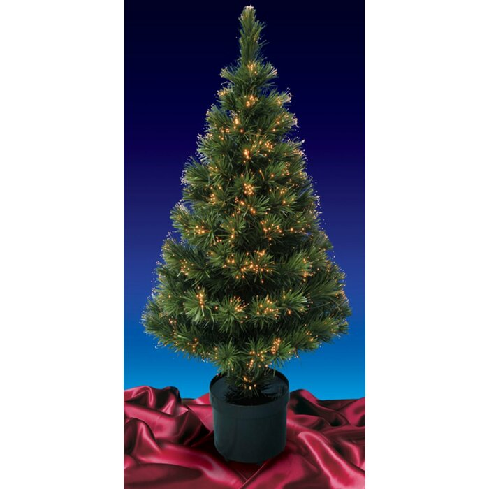 Fiberoptic Christmas Tree.Color Changing Optic 4 Green Artificial Christmas Tree With Multi Colored Lights