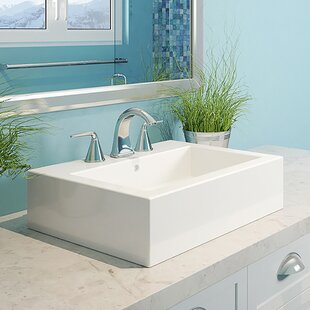 Buy clear Naiyah Classically Redefined Ceramic Rectangular Vessel Bathroom Sink with Overflow By DECOLAV