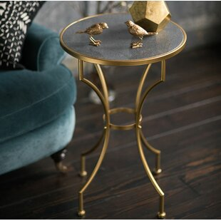 Willena Stone and Metal Round End Table by House of Hampton