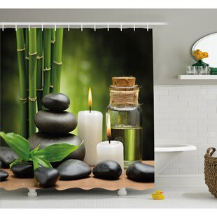 Spa Hot Massage Rocks Combined with Candles and Scents Landscape of Bamboo Shower Curtain Set ByAmbesonne