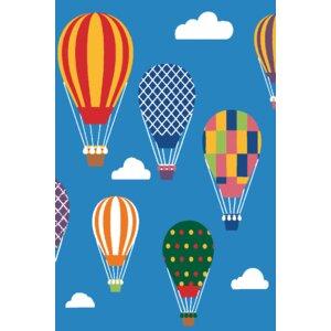Kids Art Air Balloon Ride Area Rug