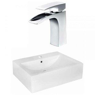 """Royal Purple Bath Kitchen Xena Farmhouse Semi-Recessed Ceramic 20.25"""" Wall Mount Bathroom Sink with Faucet and Overflow"""