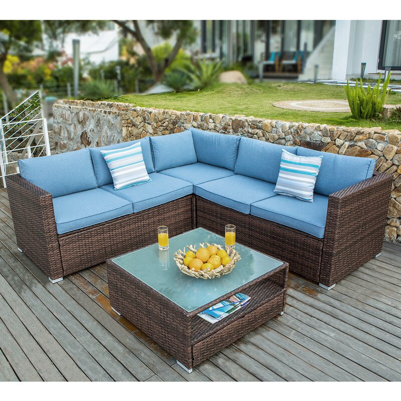 Bayou Breeze Kyle 4 Piece Rattan Sectional Seating Group With Cushions Reviews Wayfair