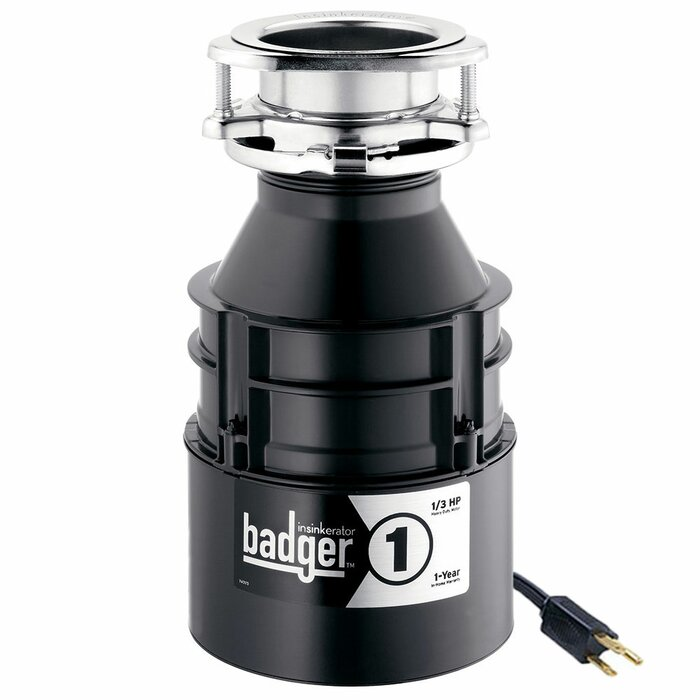 Badger 1 1/3 HP Continuous Feed Garbage Disposal (With Optional Power Cord)