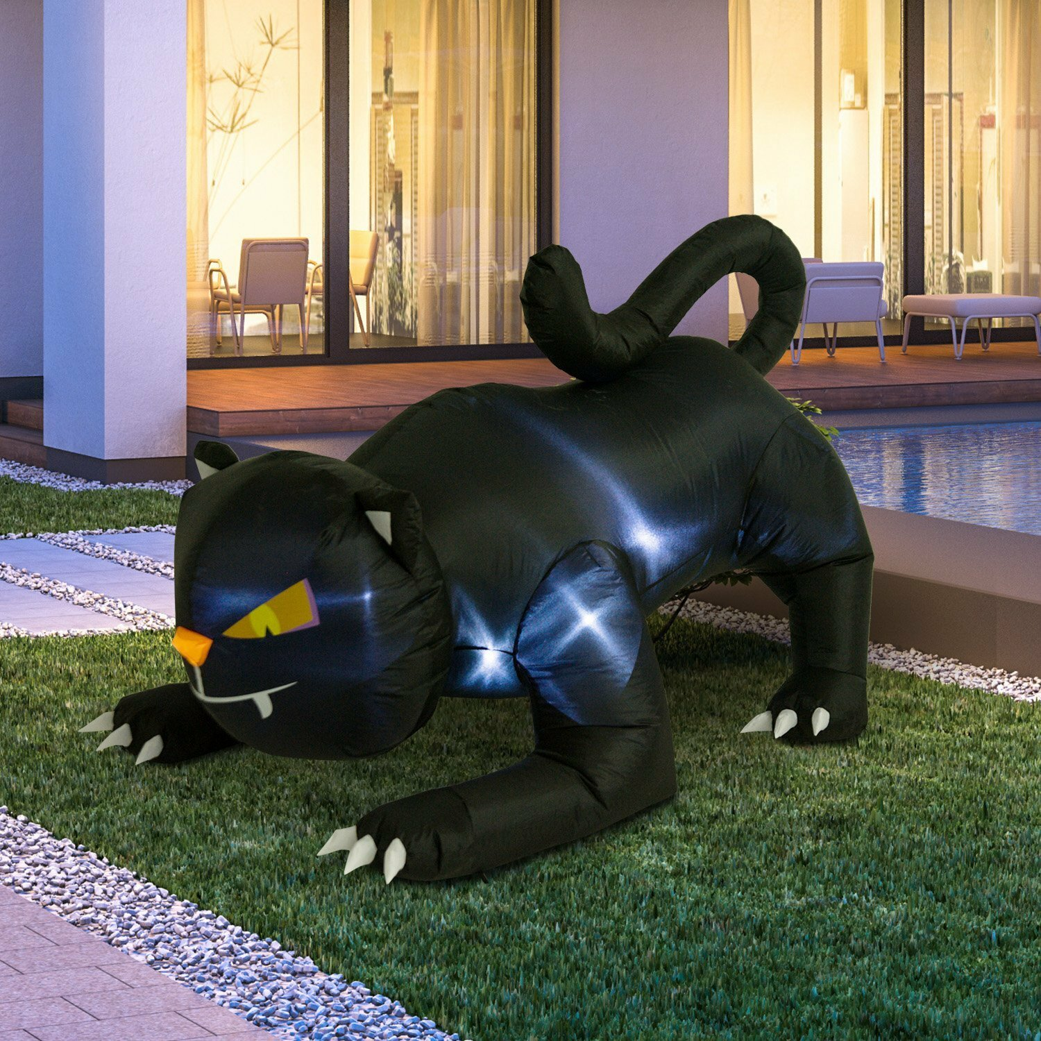 Giant Creeping Black Cat Halloween LED Lighted Outdoor Air Blown Inflatable