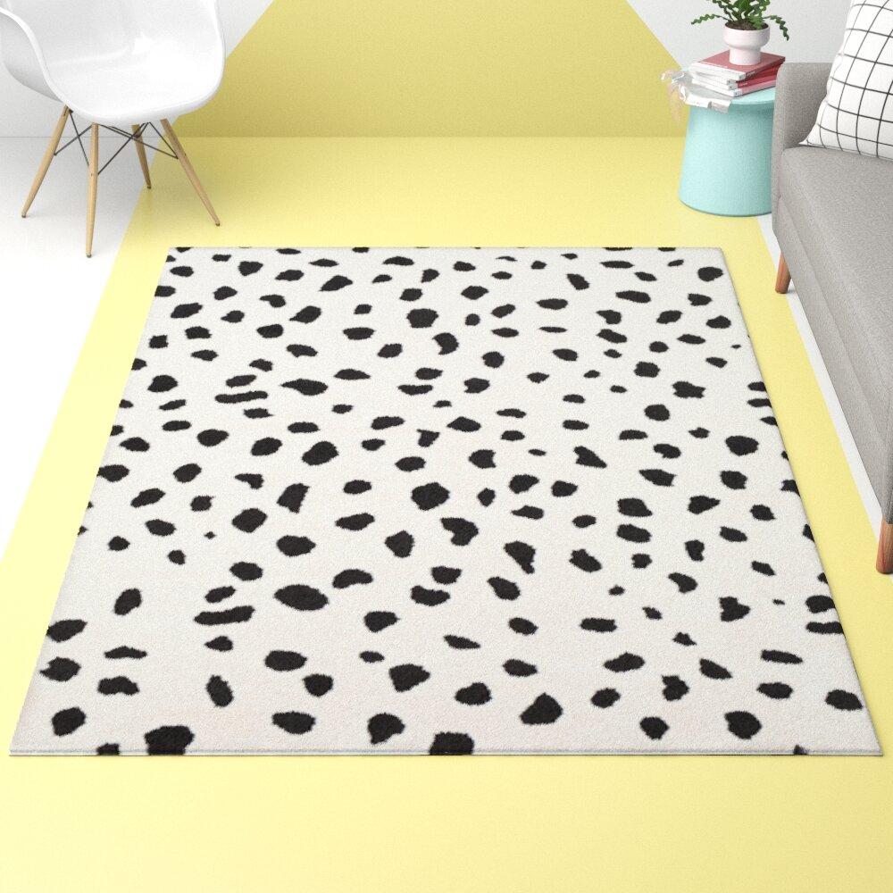 Hashtag Home Tommen Animal Print Neutral Black White Area Rug Reviews Wayfair