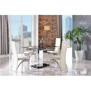 Chipping Sodbury Steel Glass Dining Set With 4 Alisa Chairs By Metro Lane