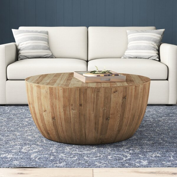 Hindsville Solid Wood Drum Coffee Table Reviews Birch Lane