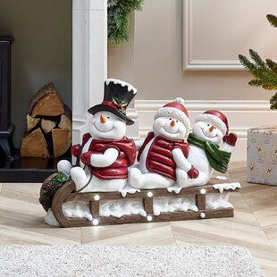 Mains Operated Indoor And Outdoor Solid Xmas Acrylic Christmas Snowmen On Sledge Figurine By The Seasonal Aisle