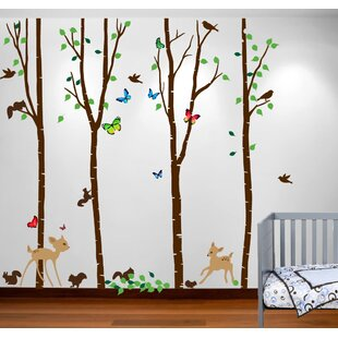 Birch Tree Forest With Deers And Flying Birds Nursery Wall Decal