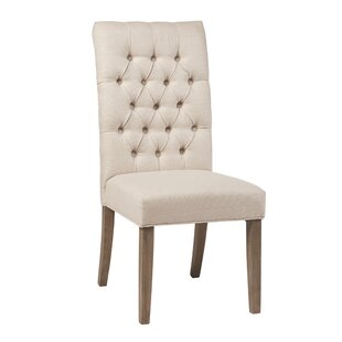 Newfolden Tufted Upholstered Parsons Chair in Oatmeal Set of 2 by Red Barrel Studio