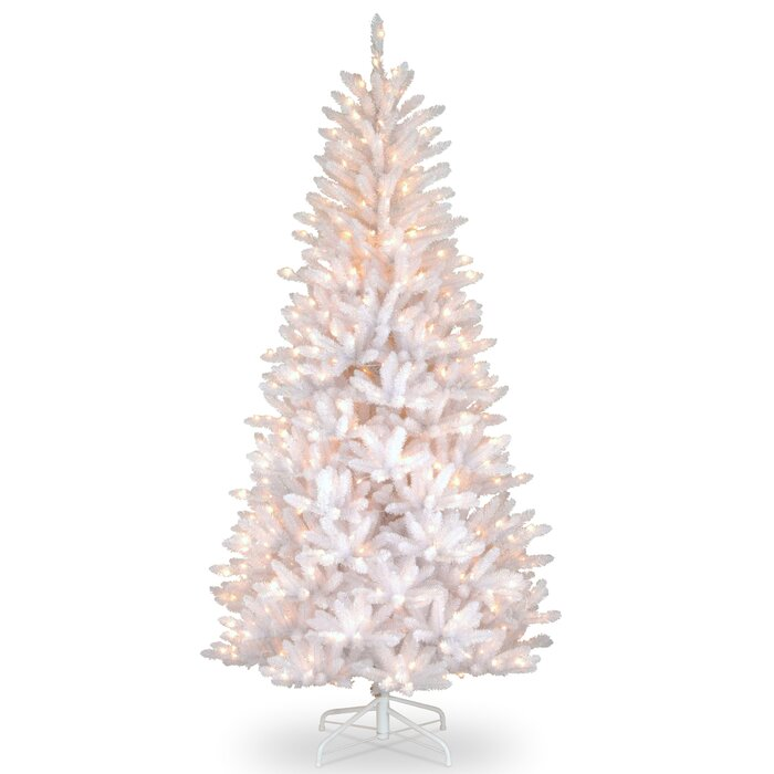 White Christmas Tree With Lights.Slim Fir 7 5 White Fir Artificial Christmas Tree With 600 Clear White Lights