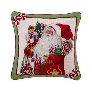 Needlepoint Lolly Jolly Christmas Wool Throw Pillow
