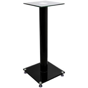 Glass and Aluminum Bookshelf 23 Fixed Height Speaker Stand by Ebern Designs