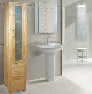 mobel oak 35 x 180cm free standing tall bathroom cabinet - Tall Bathroom Cabinets Uk
