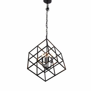 Kirree 4-Lighted Geometric Chandelier by Wrought Studio