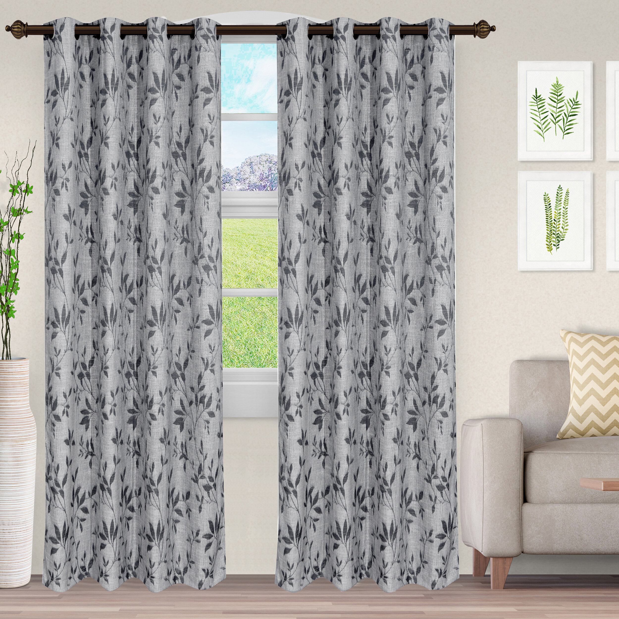 Just Home Blackout Curtains 2 Panels Room Darkening Grommet Window Door