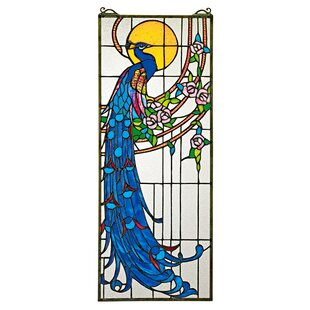 Peacocks Sunset Stained Glass Window