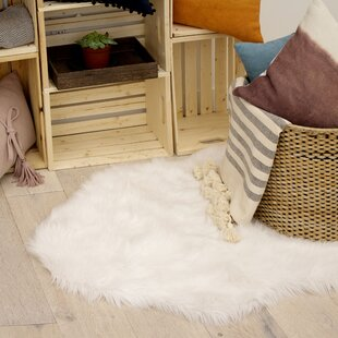 Ophir Faux Fur White Area Rug