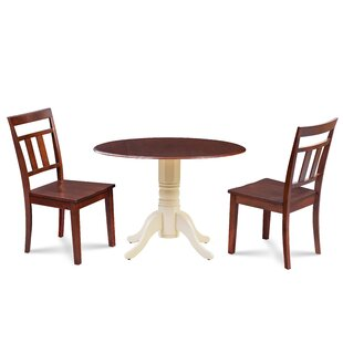 Duke 3 Piece Drop Leaf Solid Wood Dining Set Millwood Pines