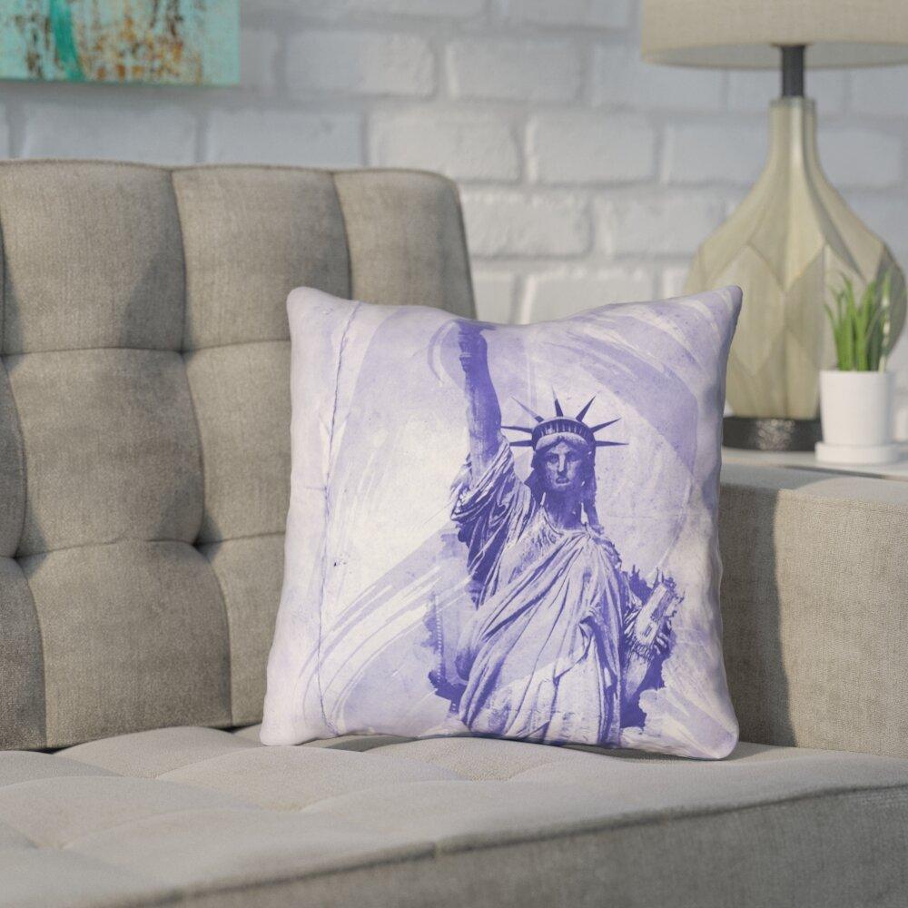 Brayden Studio Houck Blue Watercolor Statue Of Liberty Zipper Throw Pillow