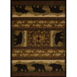 Sayre Black Bears Lodge Ivory Area Rug