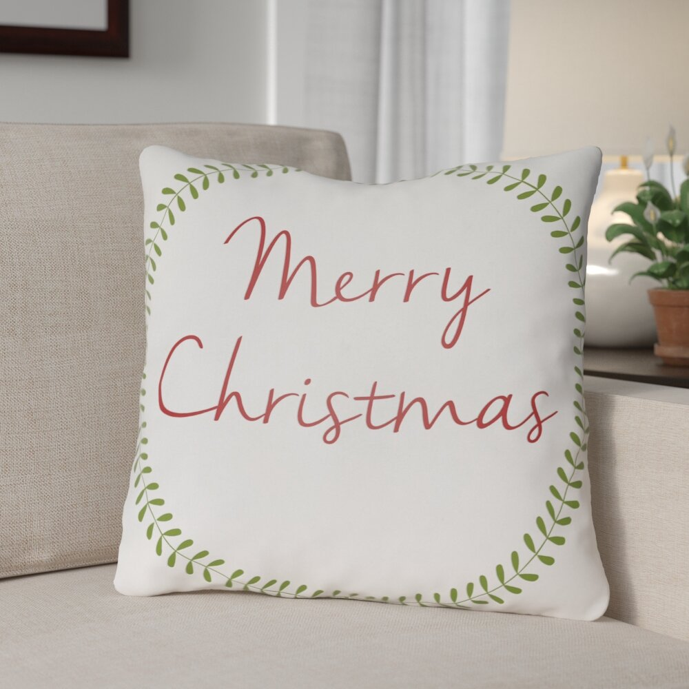 The Holiday Aisle Merry Christmas Outdoor Throw Pillow Reviews
