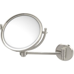 Allied Brass Wall Mounted Make-Up 4X Magnification Mirror with Groovy Detail