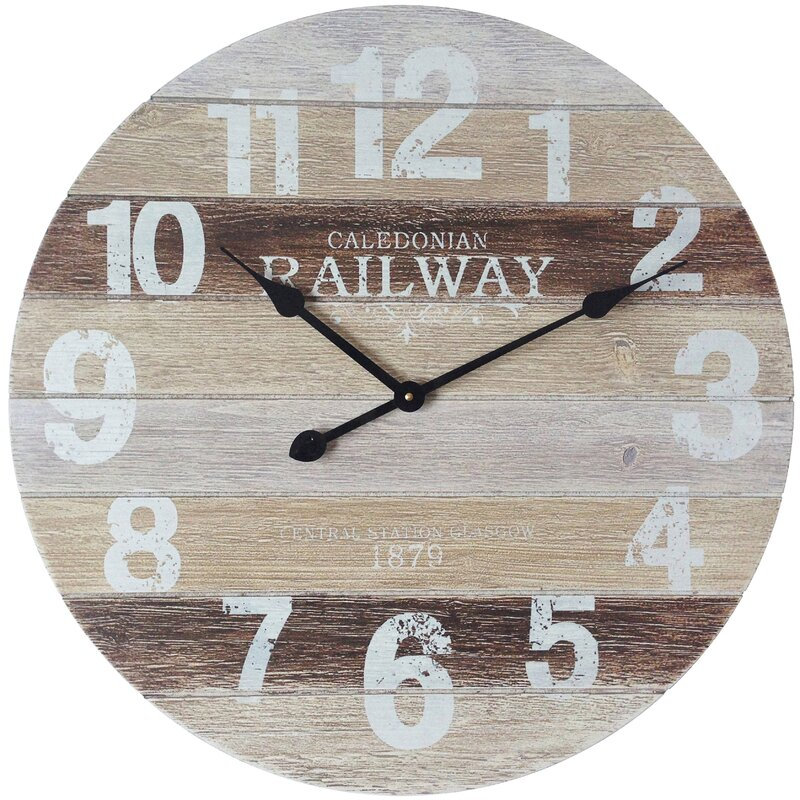 Oversized Brown White Wood Wall Clock
