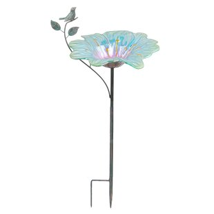 Continental Art Center Metallic Flower Garden Stake Decorative Bird Feeder