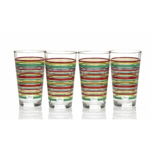 Stripes 16 Oz. Tapered Cooler Glass (Set of 4)