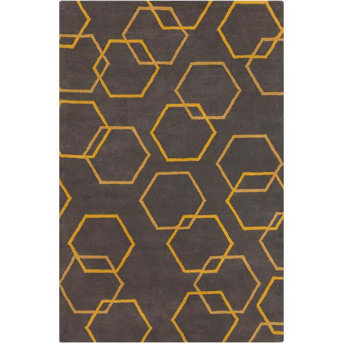 Wellfleet Patterned Contemporary Wool Charcoal Yellow Area Rug