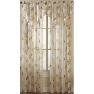 "Lark Manor Aponte Floral Sheer Rod Pocket Single Curtain Panel Size per Panel: 50"" W x 63"" L, Colour: Pink"