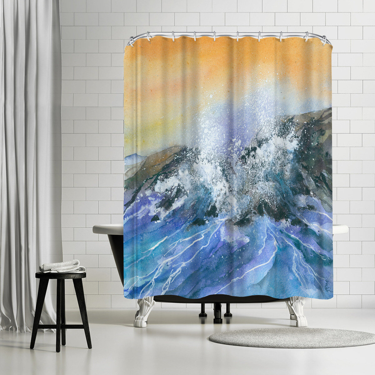 East Urban Home Rachel Mcnaughton Crashing Surf Single Shower Curtain Wayfair
