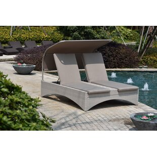 Rosecliff Heights Dewitt Double Chaise Lounge with Cushion