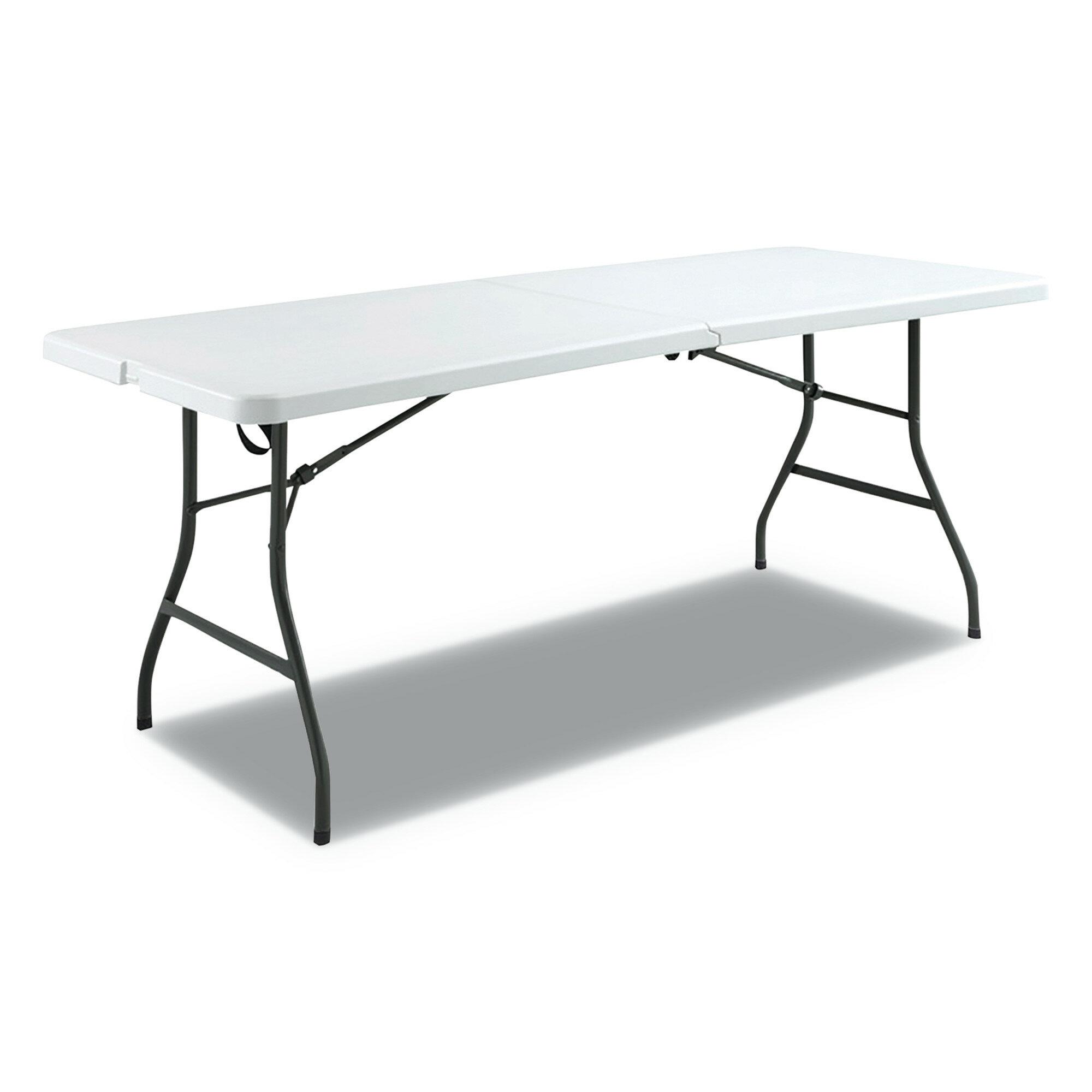 Rhinolite Fold In Half Rectangle Plastic Folding Table Locking Steel Frame Rattan Tables Home Garden